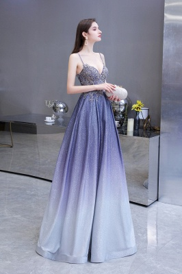 Spaghetti Straps V-neck Beaded Appliques A-line Prom Dresses_3