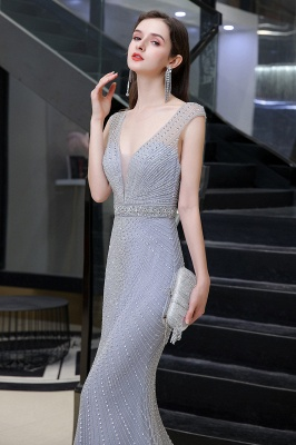 V-neck Cap Sleeves Floor Length Crystal Belt Fitted Prom Dresses_8