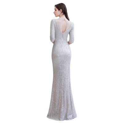Jewel Neck Half Sleeves Open Back Floor Length Glitter Fitted Prom Dresses_12