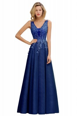 Elegant Sleeveless V-neck Floor Length Appliques Prom Dresses | Cheap Backless Evening Dresses_4