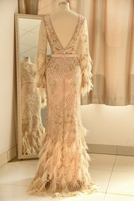 Luxury Jewel Long sleeve V Back Applique Floor Length Sheath Prom Dresses With Feathers_3