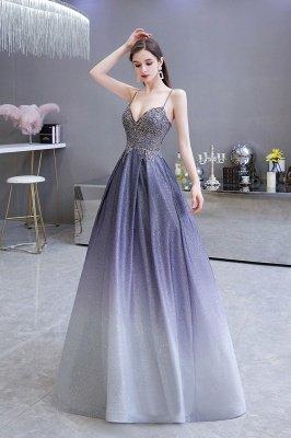Spaghetti Straps V-neck Beaded Appliques A-line Prom Dresses