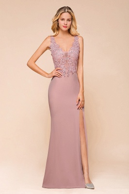 Dusty Pink Mermaid Lace Prom Dress Long Sleeveless Evening Gowns_4