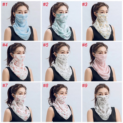 Women's Fashion Face Bandana Ear Loops Face Balaclava Neck Gaiters