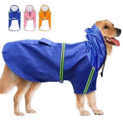 Blue Windproof Waterproof Hoody Covered Belly Large Dog Raincoat_1