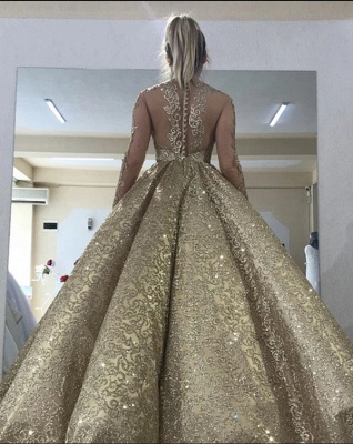 Sparkly Ball Gown Sequin Prom Dresses | Long Sleeves Bling Bling Formal Dresses_2