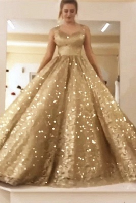 Sparkly Ball Gown Sequin Prom Dresses | Long Sleeves Bling Bling Formal Dresses_1
