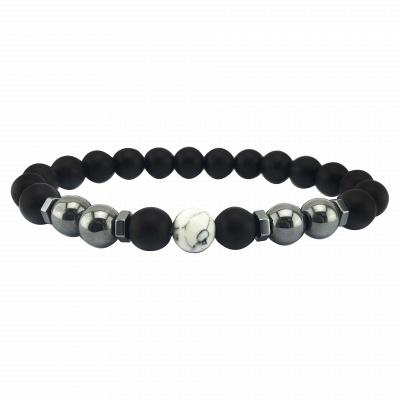 Naturally Stone Pulseira Masculina Beaded Bracelet Onyx Black Yoga Jewelry_7