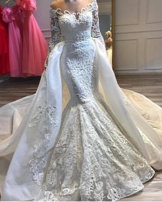 Jewel Long Sleeves Lace Mermaid Detachable Wedding Dresses_2
