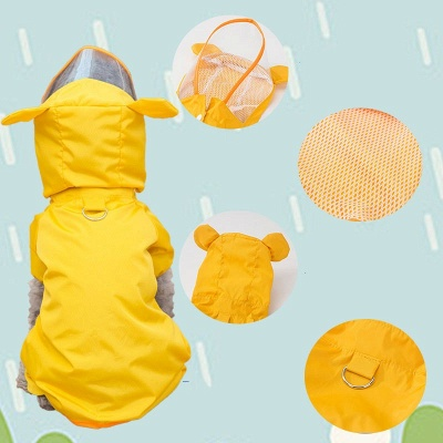 Yellow New Designed Waterproof Dog Raincoat With Hoody   Small Pets Cloth_2