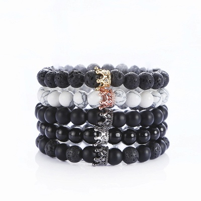 Naturally Stone Pulseira Masculina Beaded Bracelet Onyx Black Yoga Jewelry