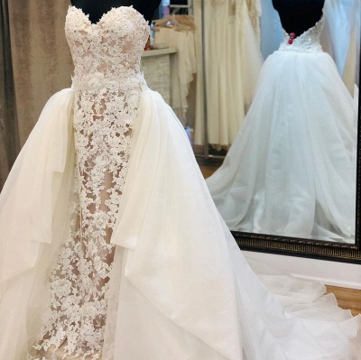 Strapless Sweetheart Grace Lace Removable Train Wedding Dresses_3
