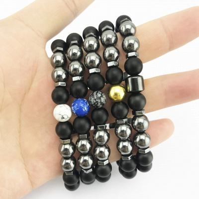 Naturally Stone Pulseira Masculina Beaded Bracelet Onyx Black Yoga Jewelry_13