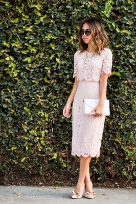 Elegant Jewel Short Sleeves Tea Length Lace Wedding Guest Dresses_1