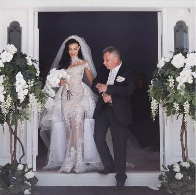 Tulle High-Neck Appliques Detachable-Train Long Sleeves Glamorous Wedding Dresses_8
