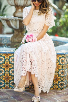 Round Neck Short Sleeves Elegant Pink Lace Tea Length Party Dresses_3