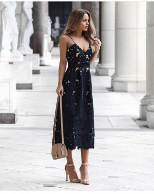 Women's Grace Spaghetti Straps V-neck Lace Midi Party Dresses_2