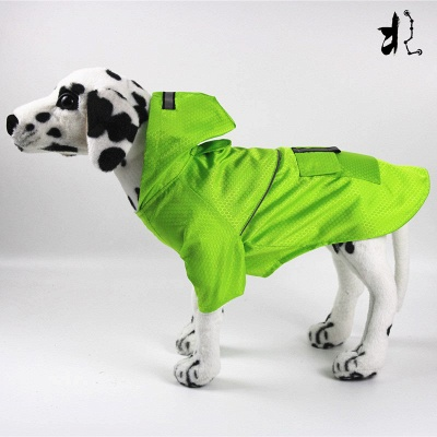 Green Outside Waterproof Hoody Covered Belly Large Dog Raincoat_1