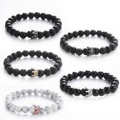 Naturally Stone Pulseira Masculina Beaded Bracelet Onyx Black Yoga Jewelry_2