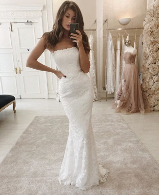 Women's Modern Strapless FItted Lace Detachable Wedding Dresses_2
