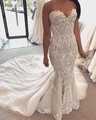 Strapless Sweetheart Lace Removable Skirt Convertible Wedding Dresses_2