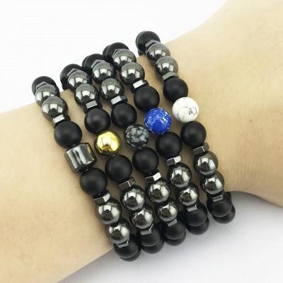 Naturally Stone Pulseira Masculina Beaded Bracelet Onyx Black Yoga Jewelry_10