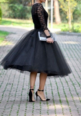 Tea-Length A-Line Tulle Popular Lace Black Evening Gowns_3