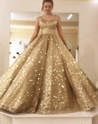 Sparkly Ball Gown Sequin Prom Dresses | Long Sleeves Bling Bling Formal Dresses_3