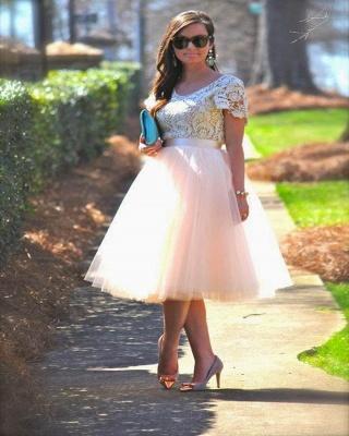 A-Line Short-Sleeves Lace  Tea-Length Homecoming Dress_3