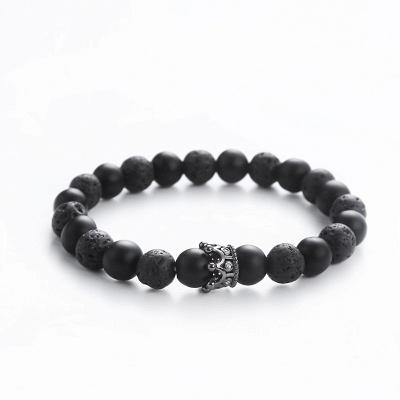 Naturally Stone Pulseira Masculina Beaded Bracelet Onyx Black Yoga Jewelry_14