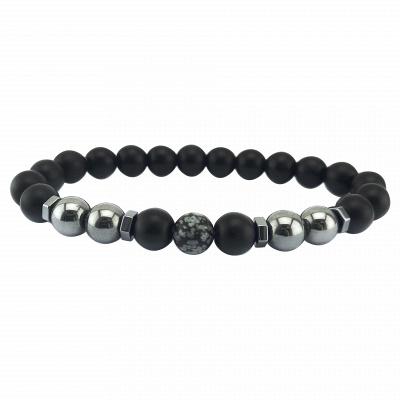 Naturally Stone Pulseira Masculina Beaded Bracelet Onyx Black Yoga Jewelry_11