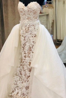 Strapless Sweetheart Grace Lace Removable Train Wedding Dresses_1