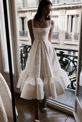 Stylish Spaghetti Straps Square Neck Skirt Midi Wedding Guest Dresses_2