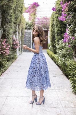 Elegant Spaghetti Straps V-neck Blue Lace Midi Party Dresses_1