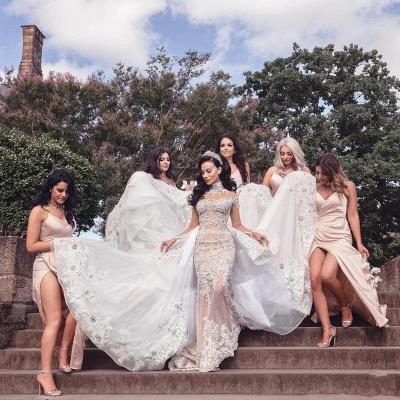 Tulle High-Neck Appliques Detachable-Train Long Sleeves Glamorous Wedding Dresses_7