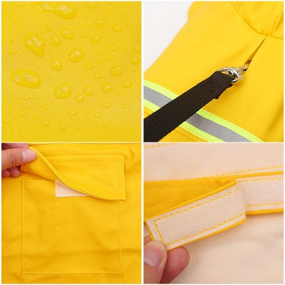 Blue Windproof Waterproof Hoody Covered Belly Large Dog Raincoat_2