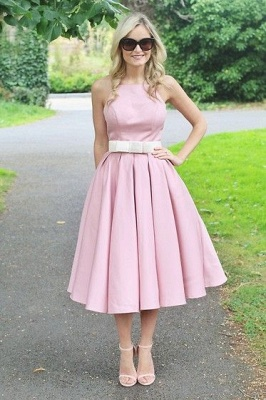 Spaghetti Straps Square Neck Belted A-line Ruffled Wedding Guest Dresses_1