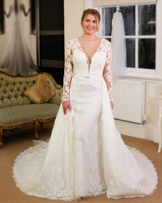 V-neck Lace Sheath Detachable Wedding Dresses with L ong Sleeves_3