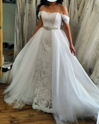 Off the Shoulder Lace 2 In 1 Sheath Wedding Dresses With Overskirt_2