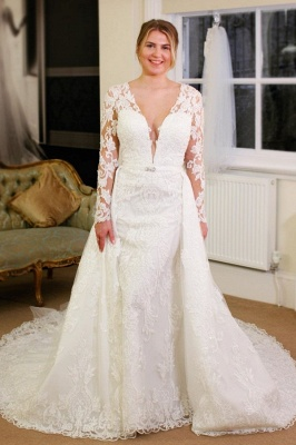 V-neck Lace Sheath Detachable Wedding Dresses with L ong Sleeves_1