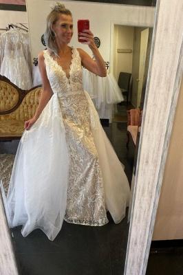 Straps V-neck Lace Tulle Detachable Train Wedding Dresses_1