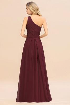 Chic Long One Shoulder Ruffle Chiffon Burgundy Bridesmaid Dresses_2