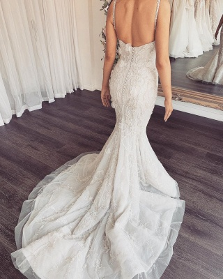 Spaghetti Straps V-neck Sexy Mermaid Wedding Dresses with Detachable Sparkle Overskirt_3