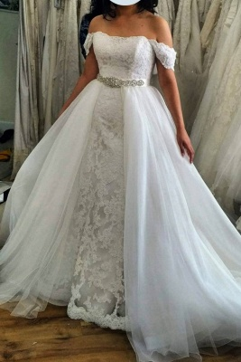 Off the Shoulder Lace 2 In 1 Sheath Wedding Dresses With Overskirt_1