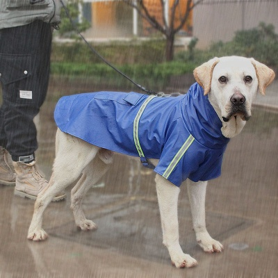 Blue Windproof Waterproof Hoody Covered Belly Large Dog Raincoat_3