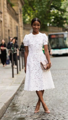 Round Puffy Sleeves White Lace Grace Midi Wedding Guest Dresses_2