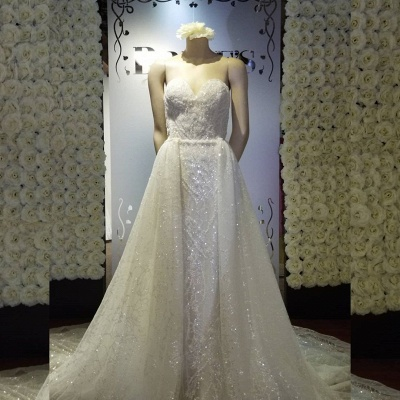Strapless Sweetheart Sparkly Wedding Dress With Detachable Overskirt_2
