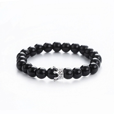 Naturally Stone Pulseira Masculina Beaded Bracelet Onyx Black Yoga Jewelry_5
