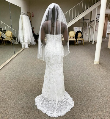 Strapless Lace Column Wedding Dresses With Detachable Skirt_3