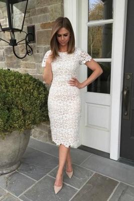 Jewel Short Sleeves Grace Lace Midi Wedding Guest Dresses_2